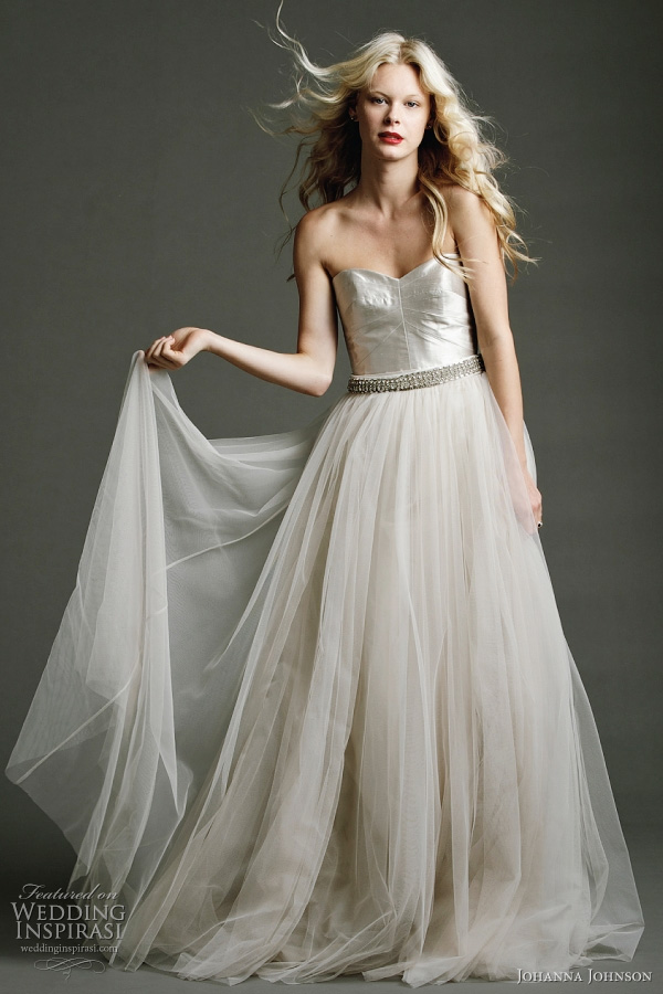"Johanna Johnson wedding dress 2011 - Isadora - fully panelled corset gown in luminous ""Pearl"" featuring ""Antique stone"" tulle skirt. Shown with exclusive hand beaded ""Evita"" silk belt."