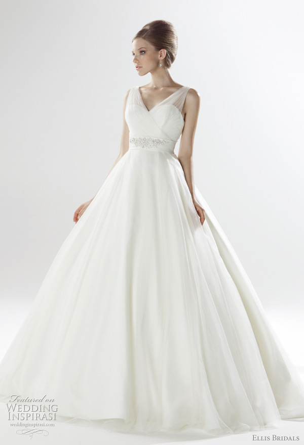 2011 wedding dresses Ellis Bridals UK London Bridal Collection- pleated tulle voluminous gown with embellished duchess satin sash and button back
