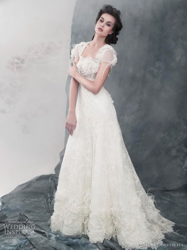 2011 Anna lace wedding dress with beads and pearls -  by Alena Goretskaya bridal gown collection