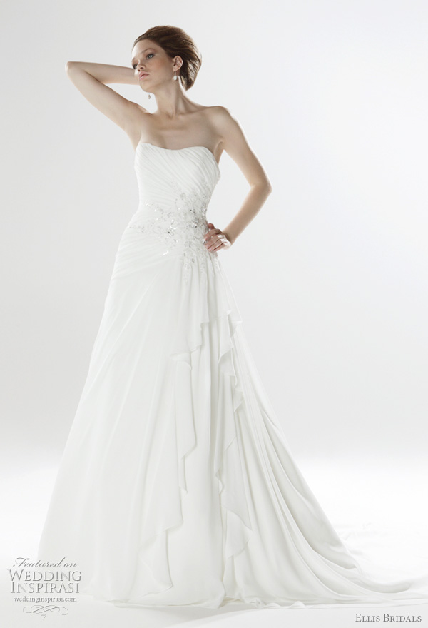 Strapless pleated chiffon gown with asymmetric skirt and crystal embellishment, from Ellis Bridals 2011 London Collection