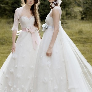 Papilio 2011 wedding dresses - Forest Dreams bridal collection, gowns with pink and light blue bows at waist