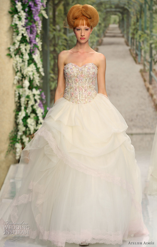 Atelier Aimee 2011 ball gown wedding dress with pink accents