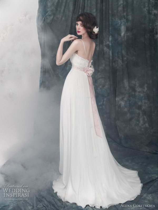 2011 wedding dress from Alena Goretskaya bridal collection - Alberta chiffon gown with rose ribbon