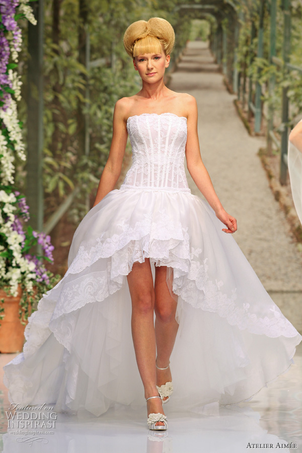 Wedding dress with Asymmetric hemline or mullet wedding gown
