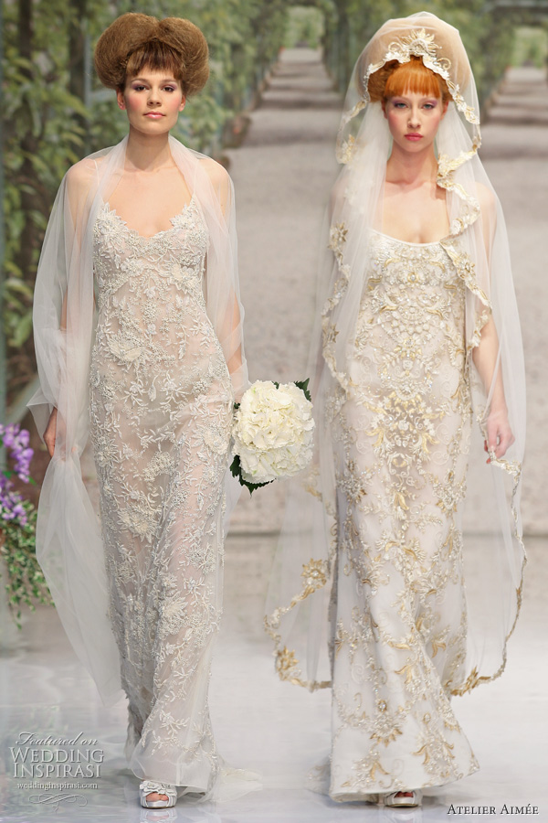 2011 wedding dresses, brides on runway wearing veils as they model bridal gowns made in Italy by Atelier Aimee