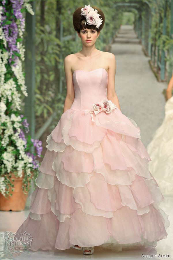 Sabry pink ball gown wedding dress with organza d coup petals on the skirt