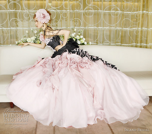Black and pink color wedding dress by Island Bridal