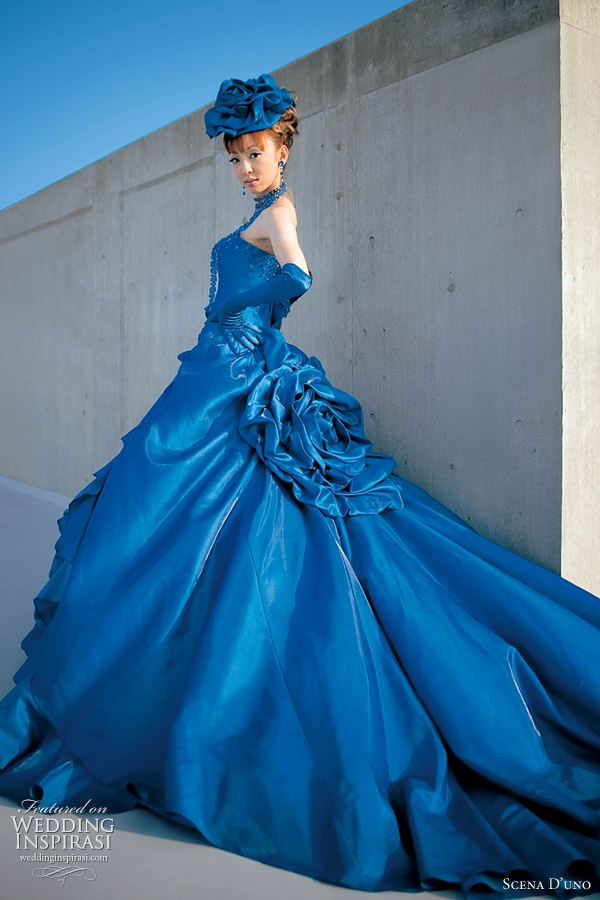 Blue Western Wedding Gown By Scena D Uno