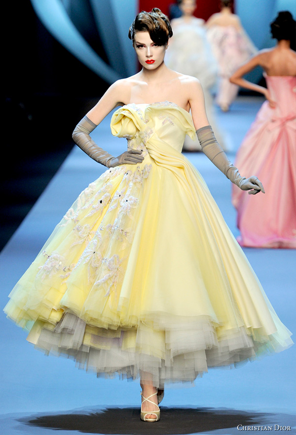 Christian Dior Spring/Summer 2011 Haute Couture by John Galliano. Model in runway show in Paris.