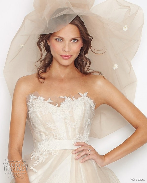 "Watters Fall 2011 bridal collection Sydney wedding dress closeup - Sydney Ivory sculpted strapless antique rose patterned, re-embroidered lace dress with oatmeal tulle overlay and ivory lace appliqué on bodice. Waist is accentuated with ivory grosgrain ribbon and train is 58"" Sweep train."