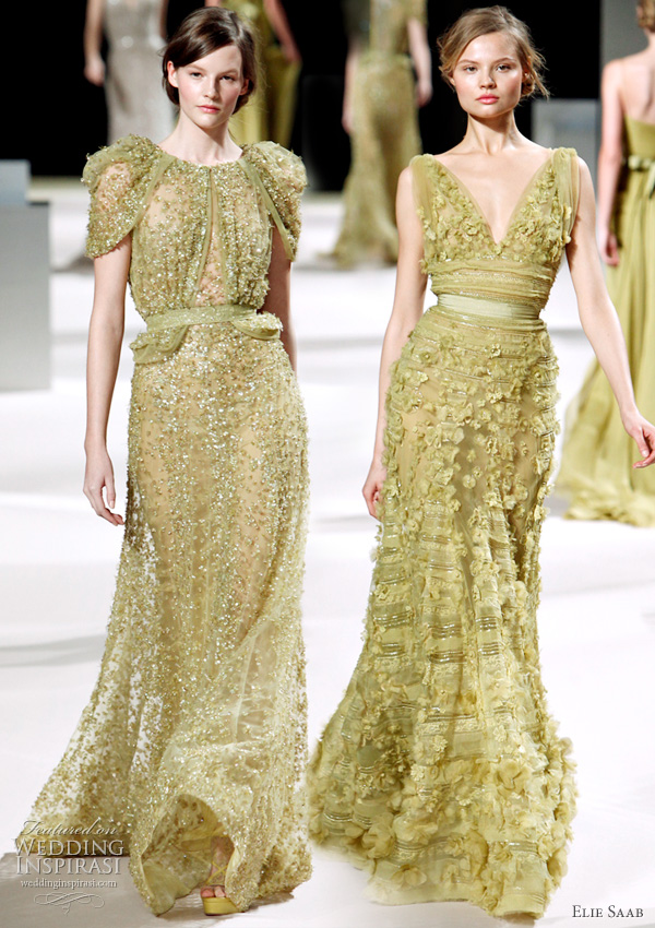 Elie Saab haute couture Spring 2011 - green bridal gown inspiration form the runway