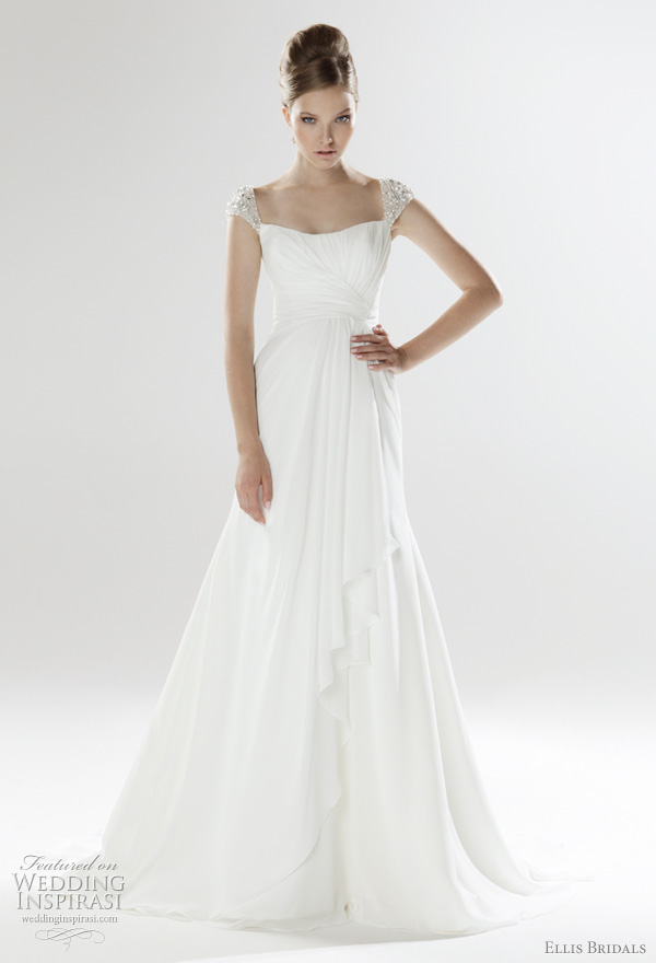 Ellis Bridals 2011 London bridal collection wedding dress - pleated and draped chiffon gown with crystal embellished straps