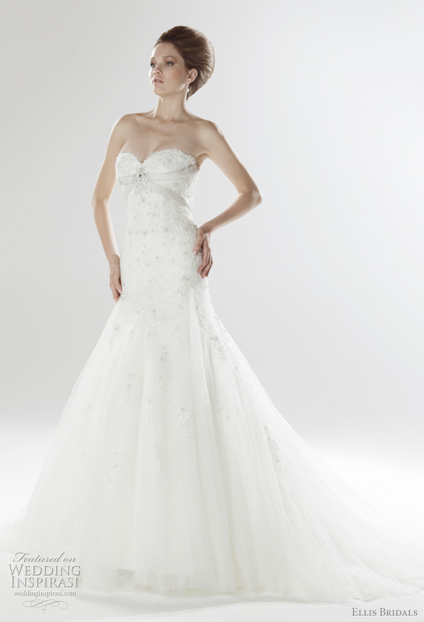 Sweetheart neckline fishtail gown with lace embellished tulle, crystal details and duchess satin lace-up back, from Ellis Bridals UK 2011 London Bridal Collection