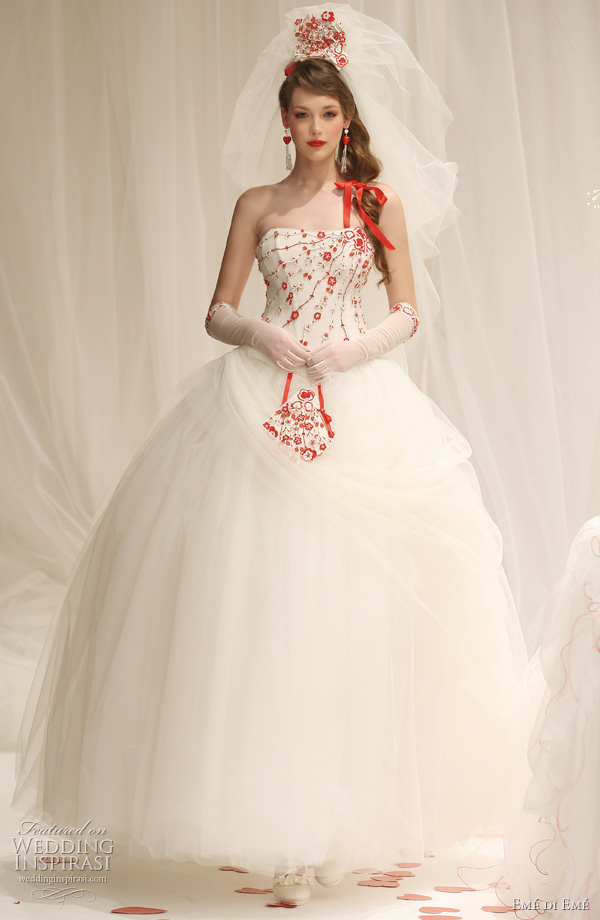 2011 red and white ball gown wedding dress by Em di Em bridal collection