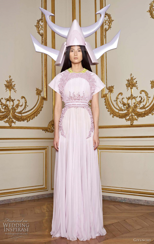 Givenchy Spring/Summer 2011 Couture collection - lavender dress and japanese kabuto inspired horned helmet