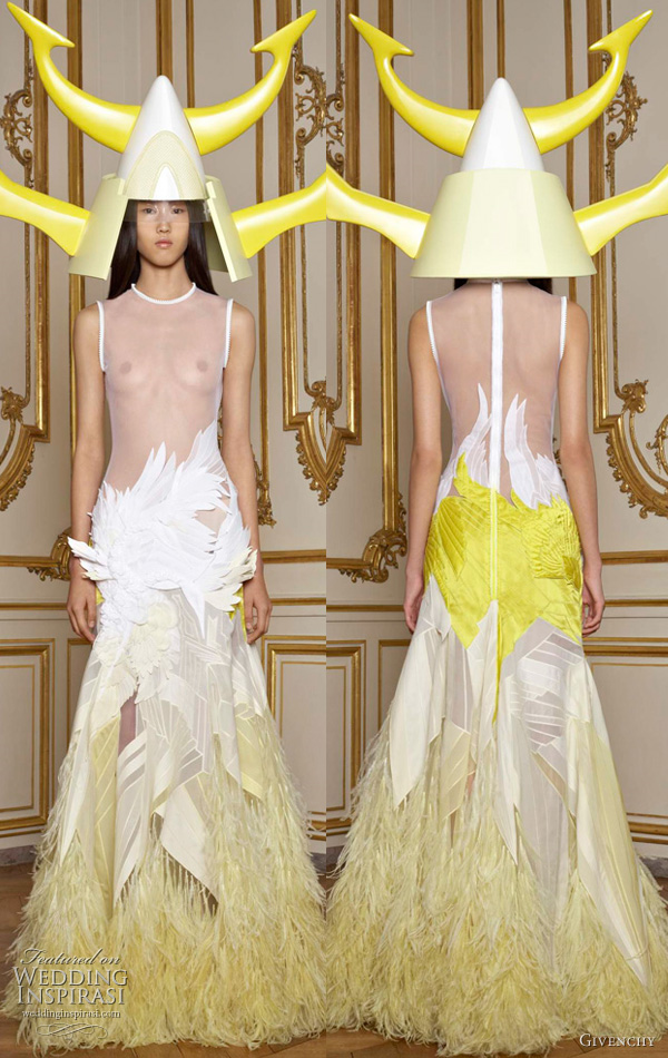 Horned helmet and neon splashes of color, seen on Riccardo Tisci's Givenchy Spring 2011 couture collection