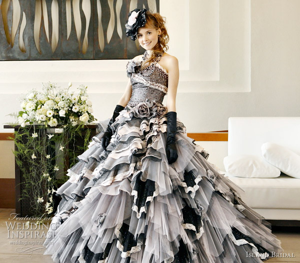 Black Color Wedding Dress With Pink Accents By Island Bridal