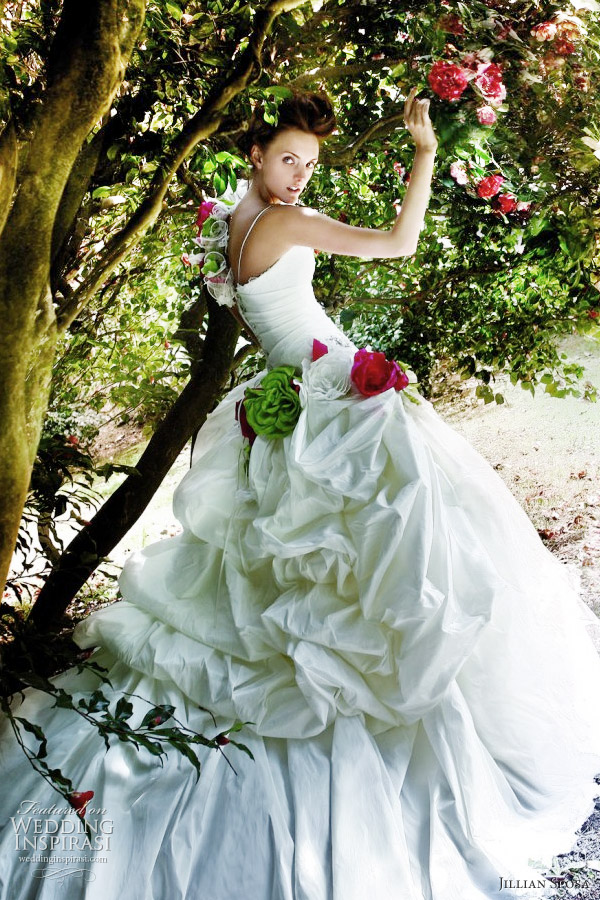Romantic wedding dress - bridal gown with pickup skirt, red and green flower accents