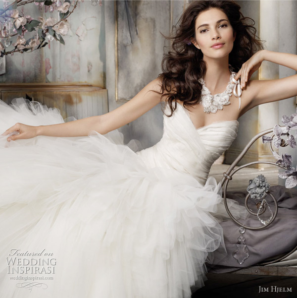 Jim Hjelm Spring 2011 Wedding Gown Style: jh8117 - Ivory ruffled tiered Tulle bridal gown, strapless organza and lace bias cut elongated bodice, chapel train. Crystal chiffon neck piece with satin ribbon.