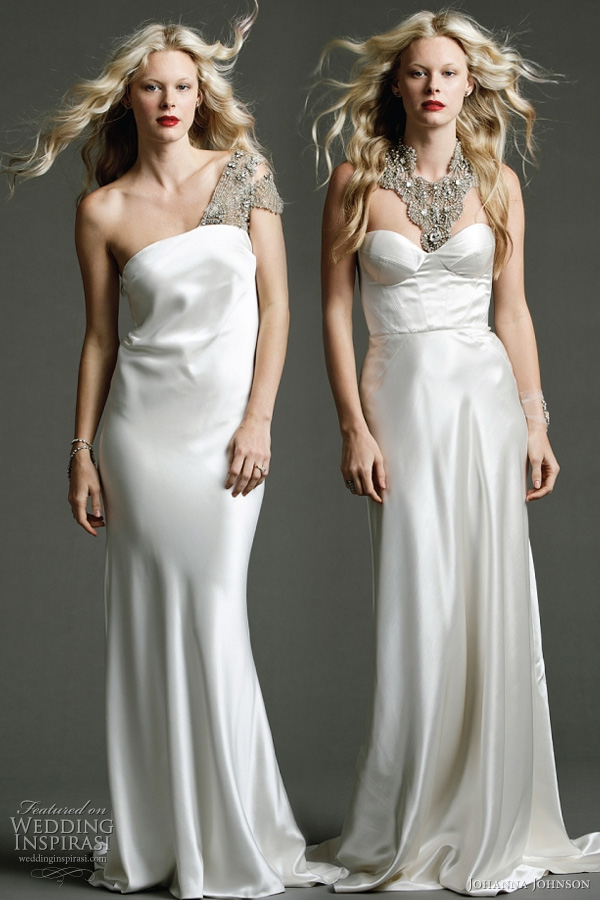 "Johanna Johnson 2011 wedding dress - Templar - heavy silk tube gown with exclusive Swarovski hand beaded shoulder detailing; Sassine - ivory structured panelled gown with strong detailed design line and silk covered buttons. Shown with exclusive hand beaded ""Astor"" neckpiece"