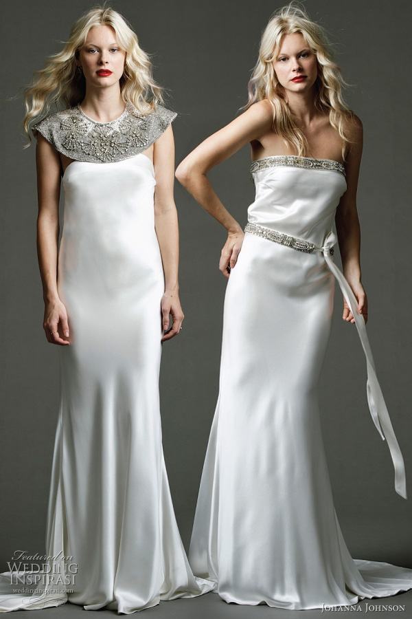"Lila II - heavy silk gown with exclusive hand beaded ""Lancaster"" shoulder cape; Lila - heavy silk column gown with exclusive hand beaded neckline and silk belt detailing from Johanna Johnson Australia 2011 bridal collection"
