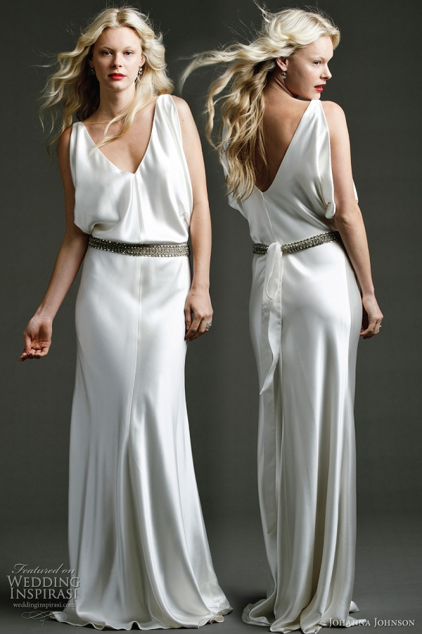 "Amelie - heavy silk delicatedly draped Grecian gown with hand beaded belt. Johanna Johnson 2011 bridal collection ""Templar"""