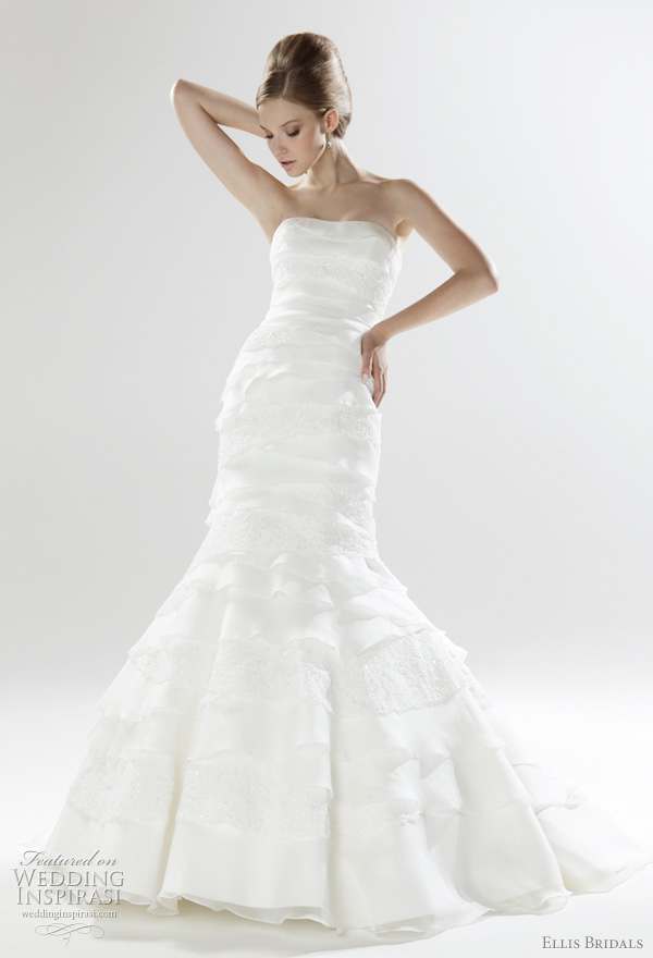 Ellis Bridals 2011 London Bridal collection - Strapless mermaid wedding gown in organdy and delicately embellished lace layers with lace-up back