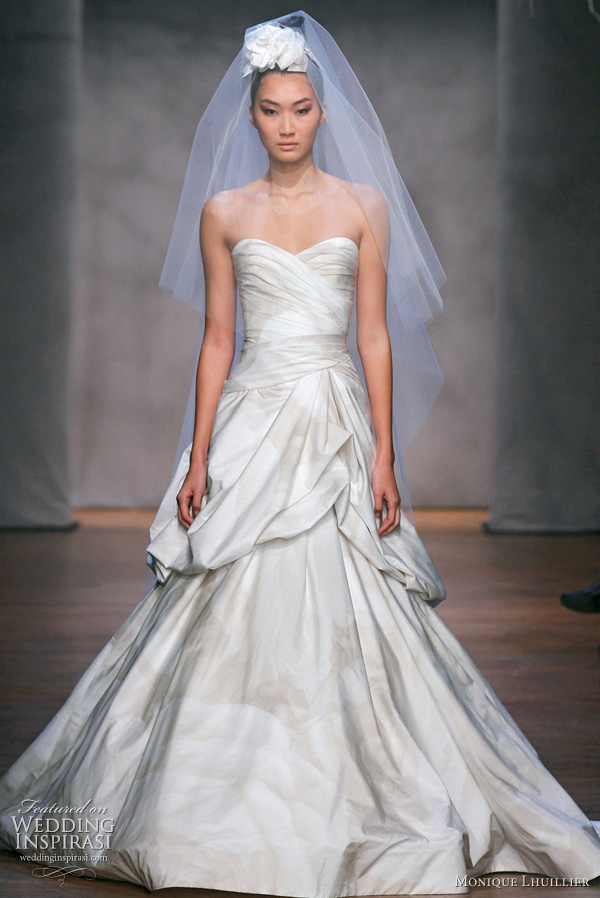 Monique Lhuillier Fall 2011 wedding gown: Primrose - ivory floral print techno taffeta strapless sweetheart asymmetric draped drop waist gown with hand tufted skirt