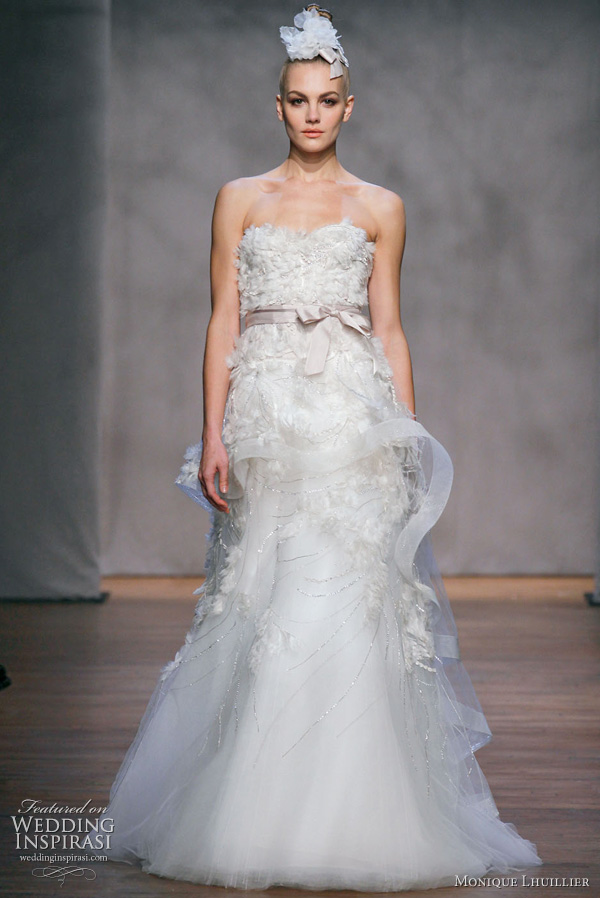 Monique Lhuillier Fall 2011 Platinum Collection wedding dress: Hyacinth - ivory embellished tulle strapless drop waist gown with cascading embellished peplum skirt with sash
