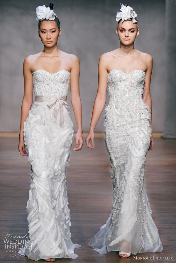 Monique Lhuillier Fall 2011 wedding dresses - Lavender - ivory embellished chantilly lace corset, ivory organza embroidered trumpet skirt, cameo hyacinth sash, Juniper - ivory/gold strapless chantilly lace drop waist bodice, ivory organza modified trumpet skirt with trailing floral embroidery