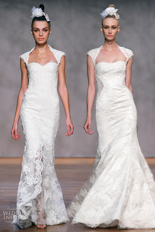 Monique Lhuillier Fall 2011 wedding gowns : Amaranth - ivory re-embroidered lace portrait neckline elongated corset bodice gown with modified split petal-trumpet skirt; Desire - ivory re-embroidered lace portrait neckline bodice gown with illusion inset sides and modified trumpet skirt