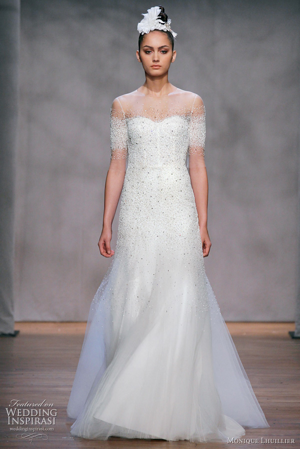 Monique Lhuillier Nightingale wedding dress - silk white stardust embellished tulle illusion neckline gown with trumpet skirt, from the Fall 2011 Platinum bridal collection