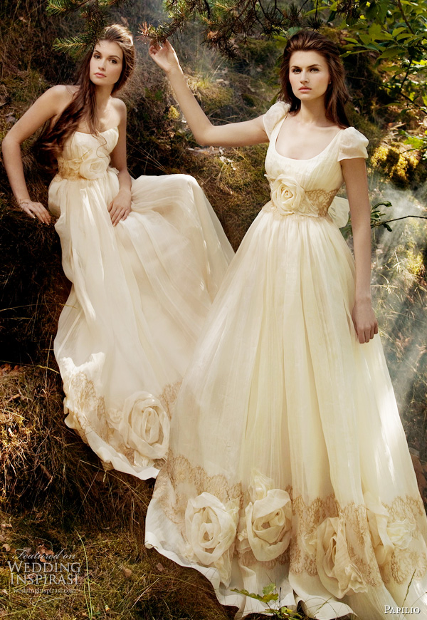 Papilio 2011 collection - Sunshine strapless wedding dress, Sunray wedding gown with short sleeves