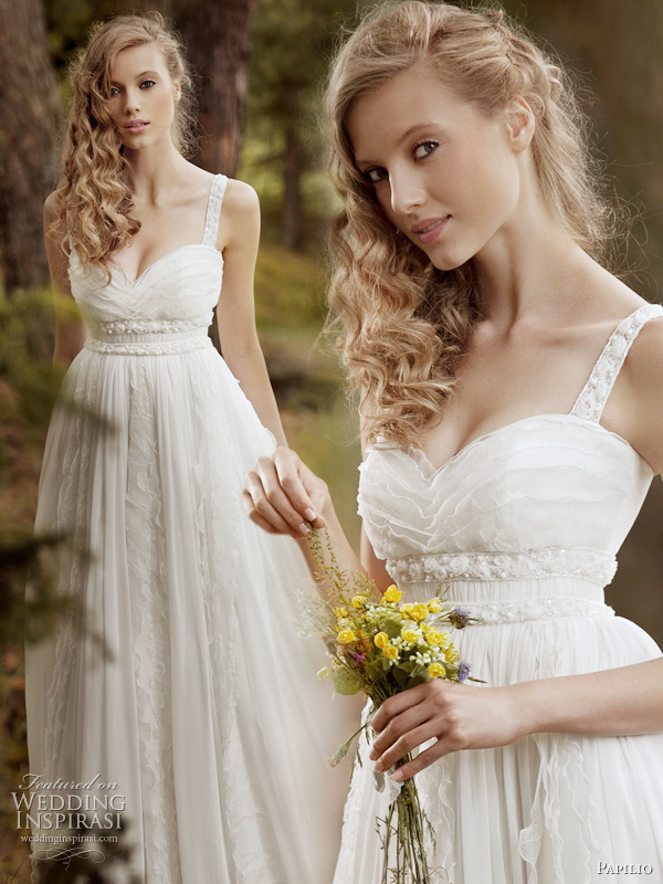 Papilio wedding gown 2011 Forest Dreams bridal collection-  Rustle wedding dress with thick lined strapes and delicate ruffle accents around the bodice, perfect for the romantic bride
