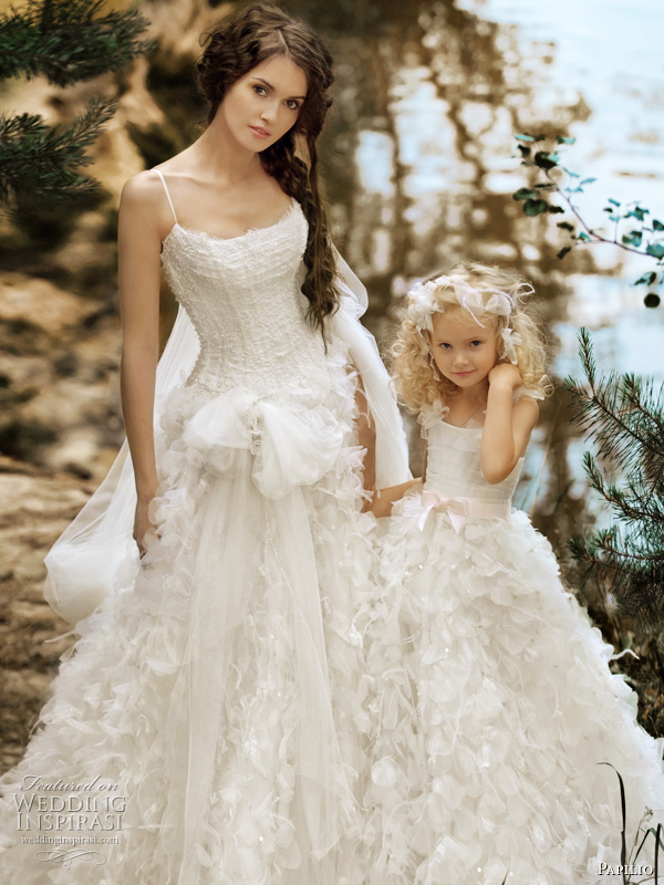 Papilio Forest Dreams 2011 bridal collection wedding gowns - Dune dress with spaghetti straps and matching flower girl dress with pink bow