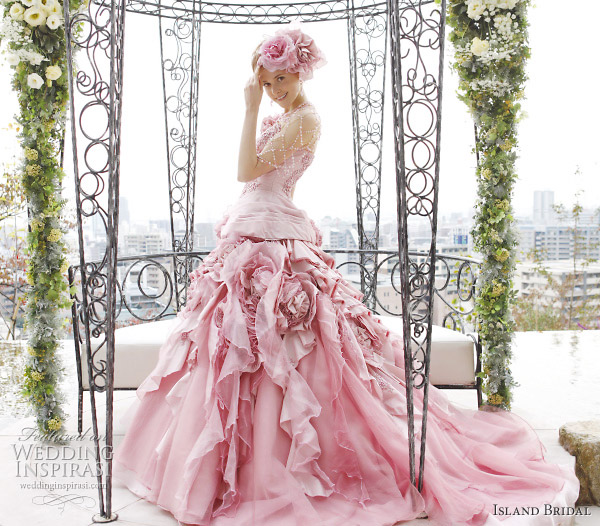 Island Bridal pink ball gown wedding dress