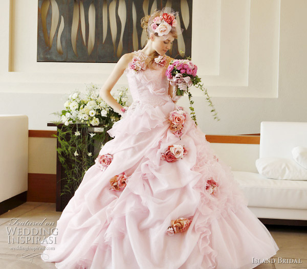 Pick Up Skirt Ball Gown Wedding Dress With Darker Pink Rose Accents By Island Bridal