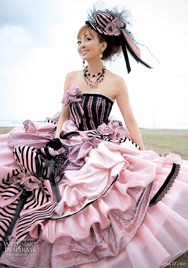 Black and pink strapless ball gown with ruffle and pick up skirt