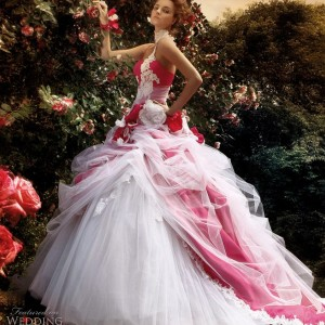 2011 red and white ball gown wedding dress by Jillian Sposa bridal collection