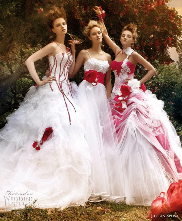 Red and white ball gown wedding dresses 2011 by Jillian Sposa