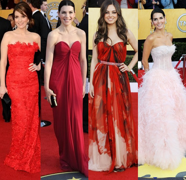 Extra love for the two dresses in the middle! SAG Awards 2011 red carpet