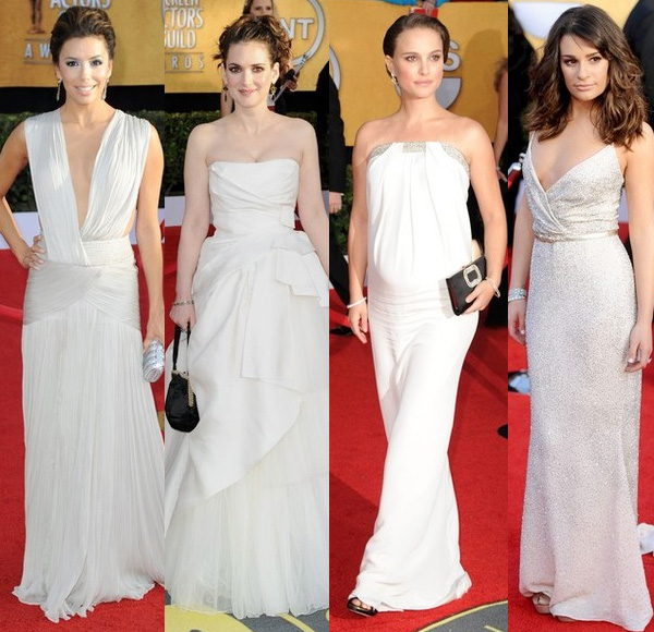 2011 SAG Awards - Natalie Portman in white Azzaro strapless gown which shows