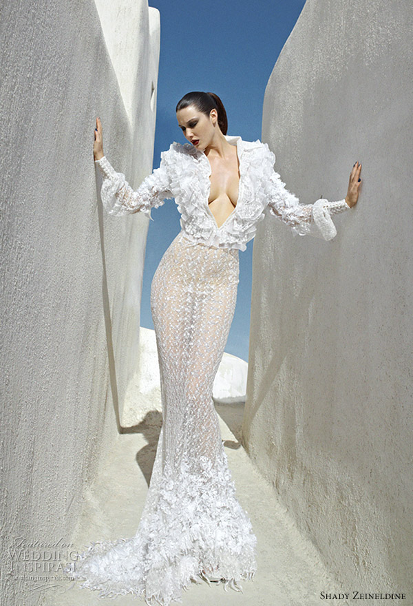2011 plunging neck couture wedding gown by Shady Zeineldine