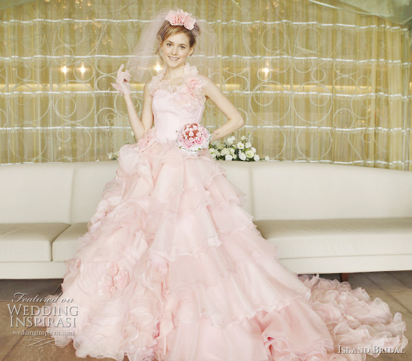 Sweet romantic light pink wedding dress by Japanese label Island bridal