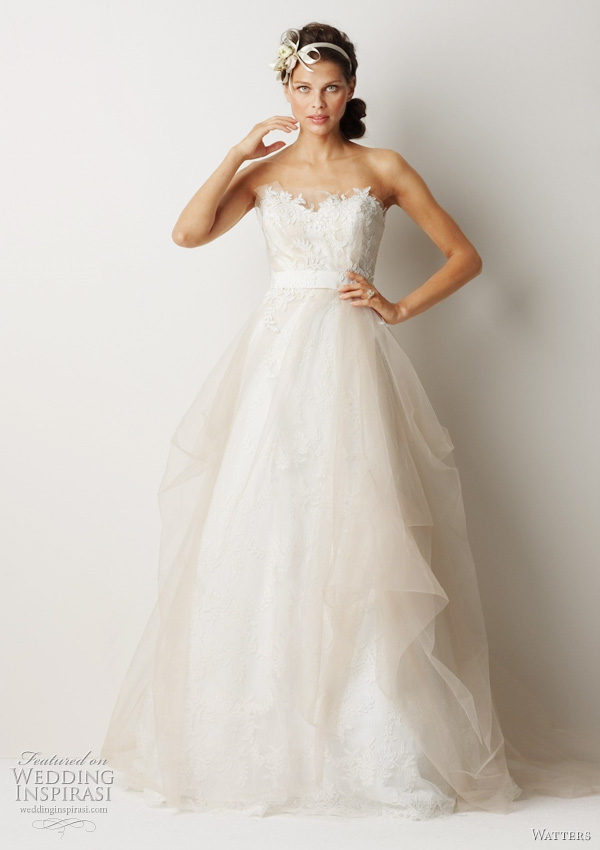 "Watters Fall 2011 collection wedding dress  -  Sydney Ivory sculpted strapless antique rose patterned, re-embroidered lace dress with oatmeal tulle overlay and ivory lace appliqué on bodice. Waist is accentuated with ivory grosgrain ribbon and train is 58"" Sweep train."