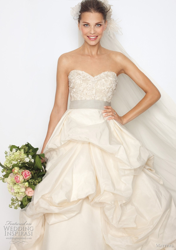 "2011 ball gown wedding dress  from Watters bridal collection - Belmont Ivory silk taffeta sculpted strapless ball gown with vintage lace inspired beading and embroidery on bodice. Bodice and skirt have subtle ivory tulle overlay, oyster grosgrain ribbon at waist, top skirt is fully bustled, with a 65"" chapel train."