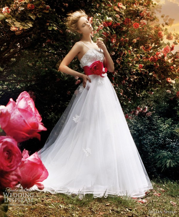 Wedding gown with red sash belt, photo shoot in garden of roses. Jillian Bridal Collection 2011