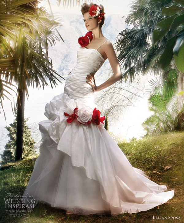 2011 white wedding gown with red flower accents by Jillian Sposa
