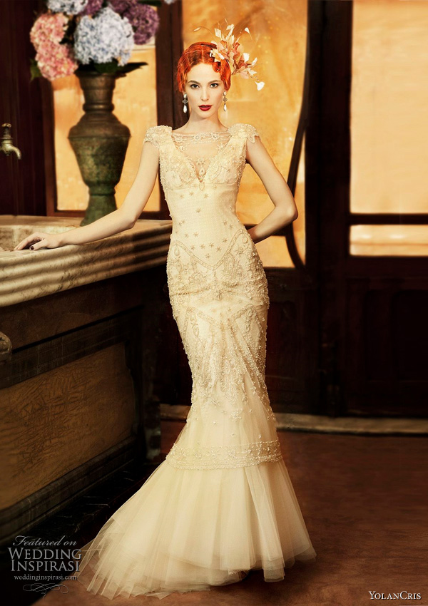 Art Deco style wedding dresses from Yolan Cris 2011 Revival Vintage collection - Almeria