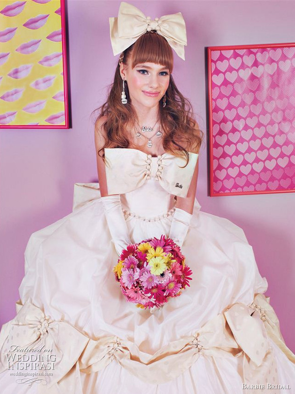 Barbie bridal gown 2011 - white wedding dress with large bow